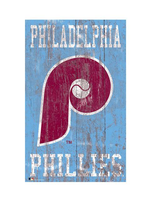 MLB Philadelphia Phillies 11 in x 19 in Heritage Distressed Logo Sign