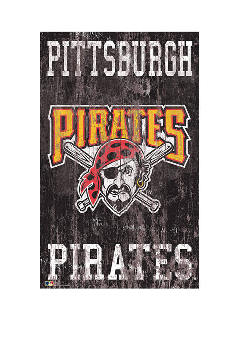 MLB Pittsburgh Pirates 11 in x 19 in Heritage Distressed Logo Sign