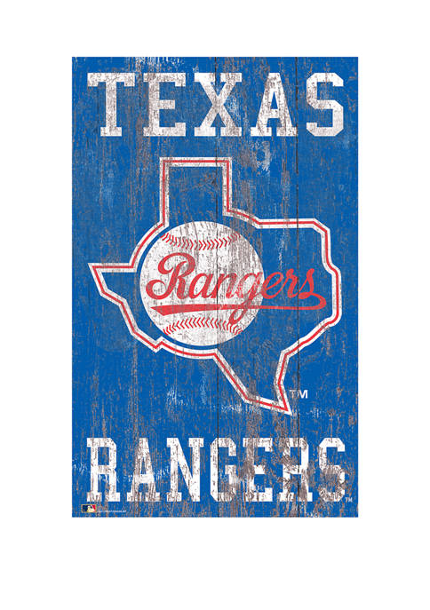 MLB Texas Rangers 11 in x 19 in Heritage Distressed Logo Sign