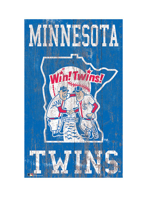 MLB Minnesota Twins 11 in x 19 in Heritage Distressed Logo Sign