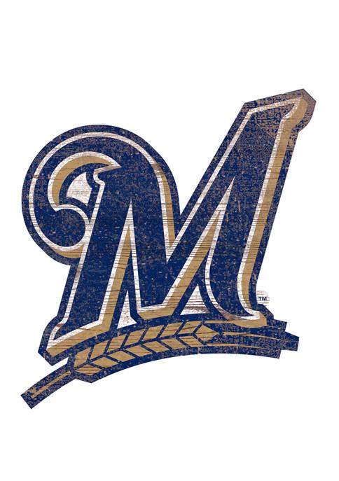 MLB Milwaukee Brewers Distressed Logo Cutout Sign