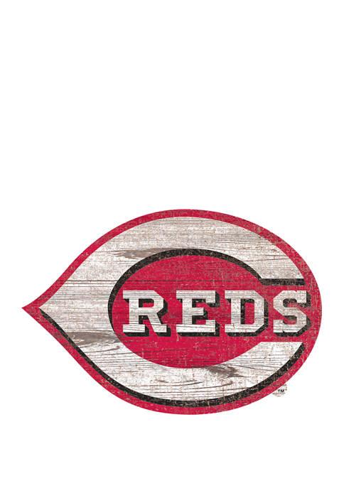 MLB Cincinnati Reds Distressed Logo Cutout Sign