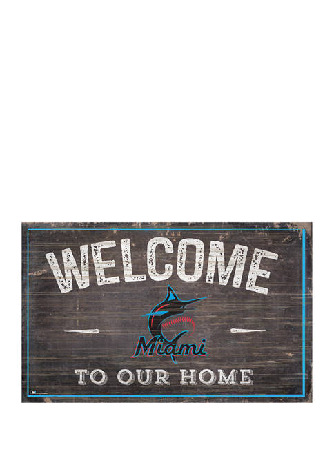 MLB Miami Marlins 11 in x 19 in Welcome to our Home Sign
