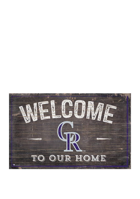 MLB Colorado Rockies 11 in x 19 in Welcome to our Home Sign