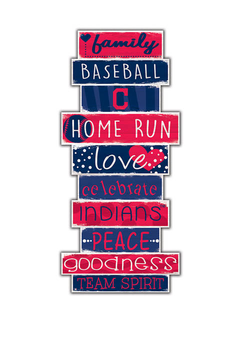 MLB Cleveland Indians Celebrations Stack 24 in x 10 in Sign