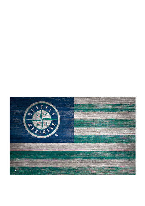 MLB Seattle Mariners 11 in x 19 in Distressed Flag
