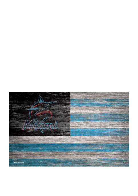 MLB Miami Marlins 11 in x 19 in Distressed Flag