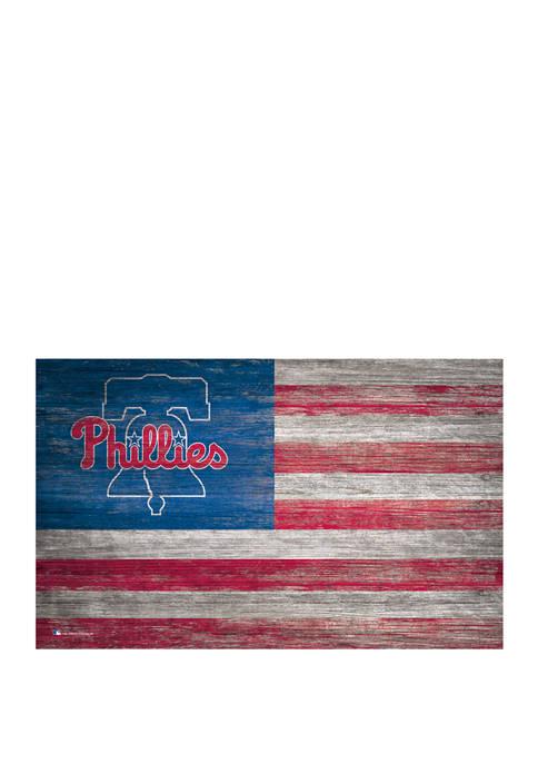 MLB Philadelphia Phillies 11 in x 19 in Distressed Flag