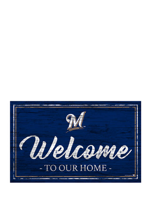 MLB Milwaukee Brewers 11 in x 19 in Team Color Welcome Sign