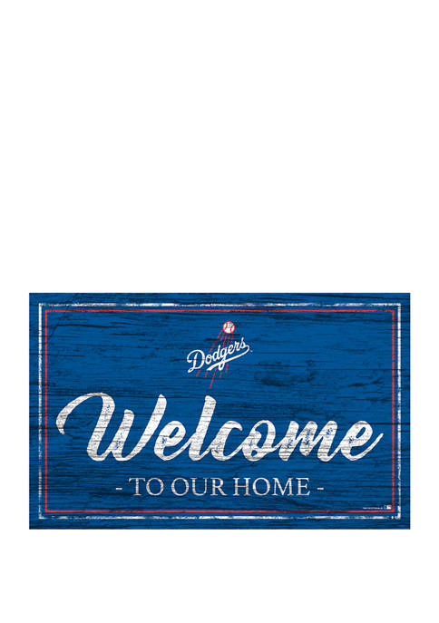 MLB Los Angeles Dodgers 11 in x 19 in Team Color Welcome Sign