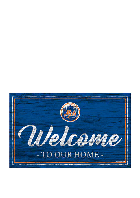 MLB New York Mets 11 in x 19 in Team Color Welcome Sign