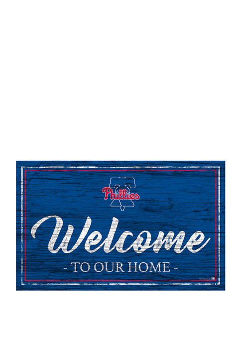 MLB Philadelphia Phillies 11 in x 19 in Team Color Welcome Sign
