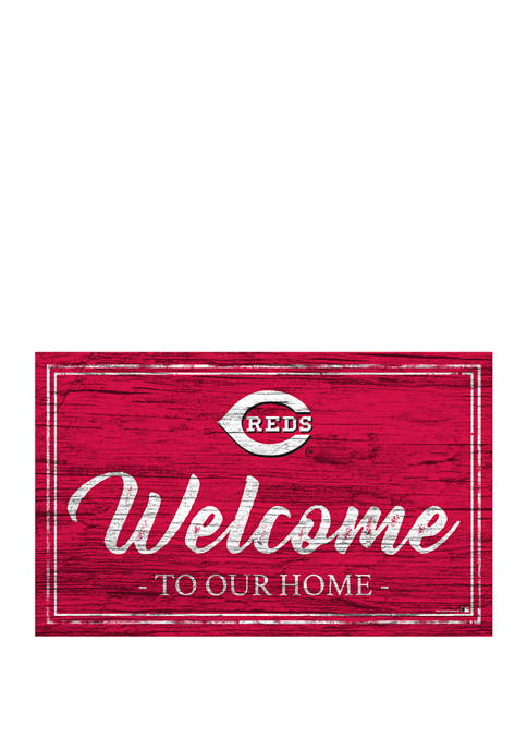 MLB Cincinnati Reds 11 in x 19 in Team Color Welcome Sign