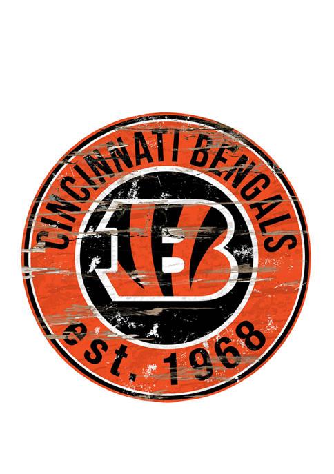 Fan Creations NFL Cincinnati Bengals Round Distressed Sign