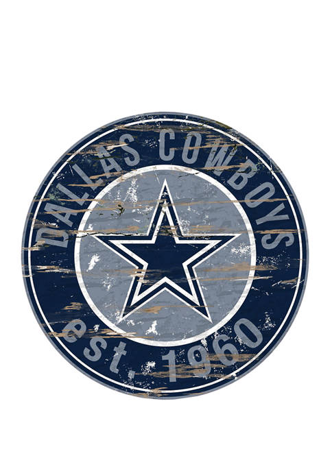 NFL Dallas Cowboys Round Distressed Sign
