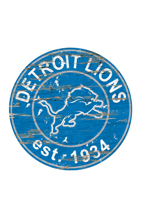 Fan Creations NFL Detroit Lions Round Distressed Sign