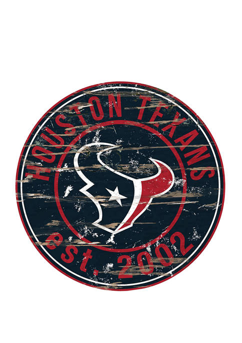 NFL Houston Texans Round Distressed Sign