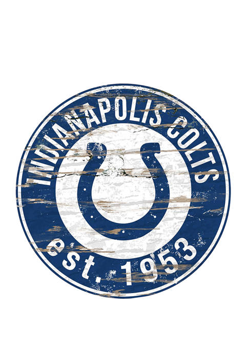 NFL Indianapolis Colts Round Distressed Sign