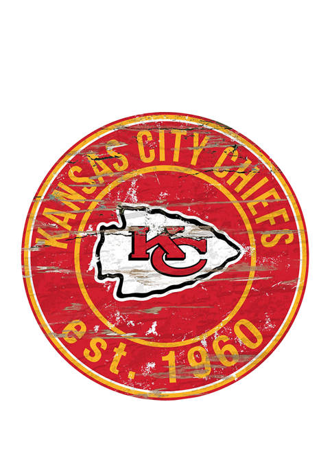 NFL Kansas City Chiefs Round Distressed Sign
