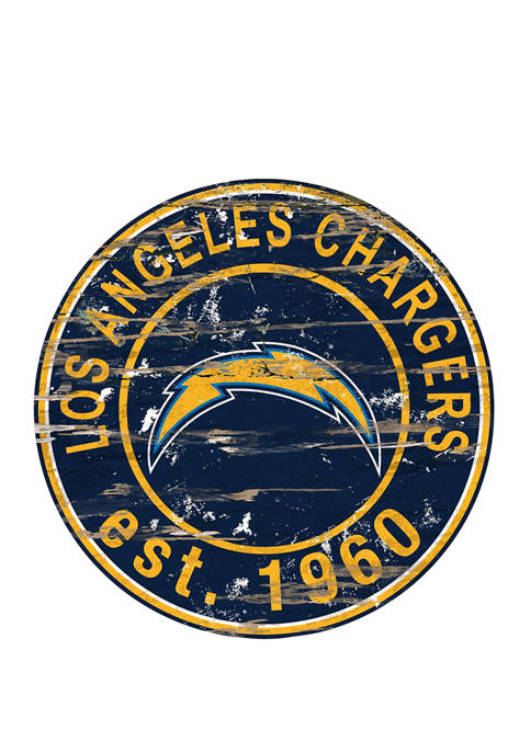 NFL Los Angeles Chargers Round Distressed Sign