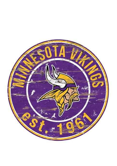 Fan Creations NFL Minnesota Vikings Round Distressed Sign