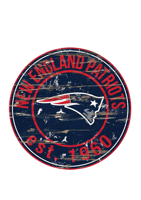 NFL New England Patriots Round Distressed Sign