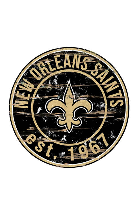 NFL New Orleans Saints Round Distressed Sign