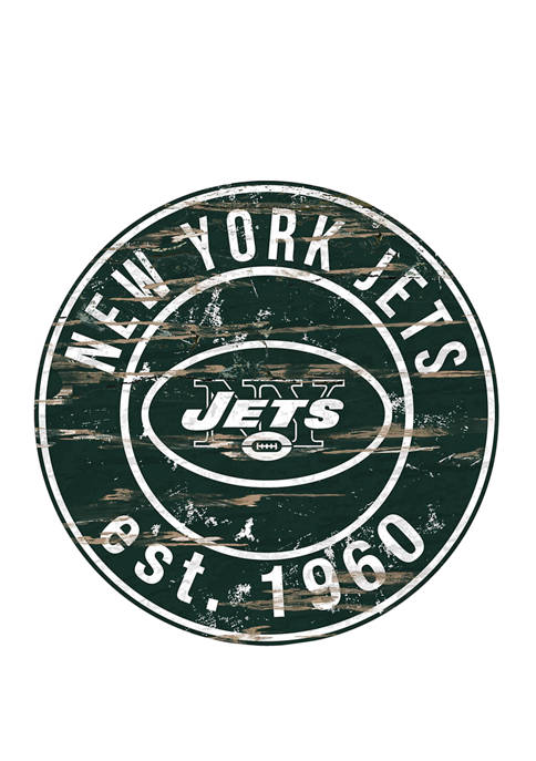 NFL New York Jets Round Distressed Sign