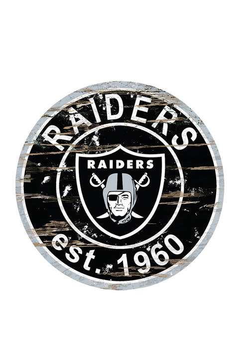 NFL Oakland Raiders Round Distressed Sign