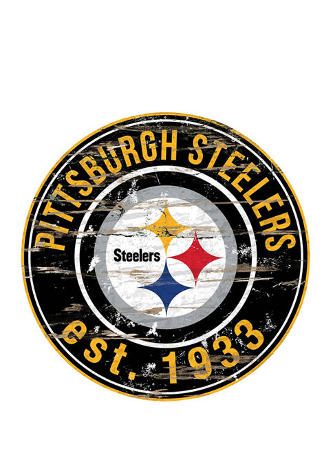 NFL Pittsburgh Steelers Round Distressed Sign