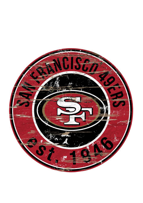 NFL San Francisco 49ers Round Distressed Sign