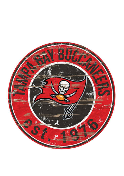 NFL Tampa Bay Buccaneers Round Distressed Sign