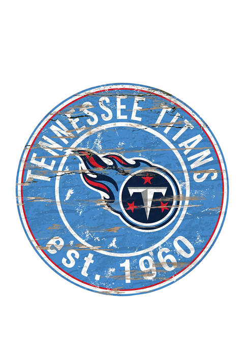 NFL Tennessee Titans Round Distressed Sign