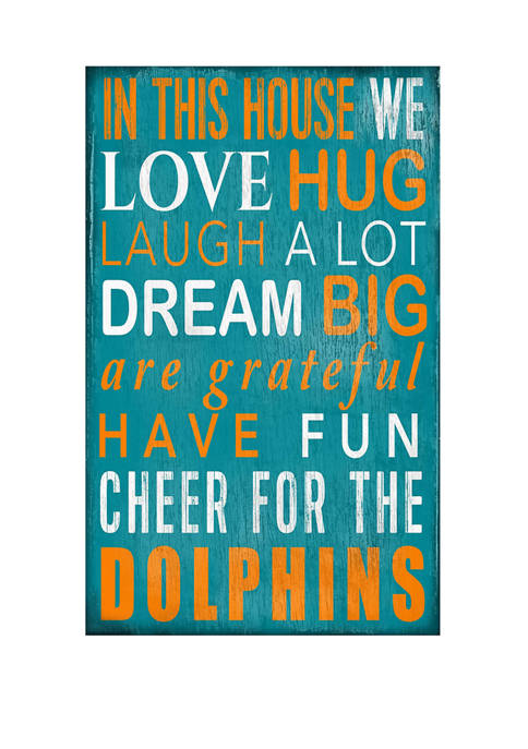 NFL Miami Dolphins 11 in x 19 in In This House Sign