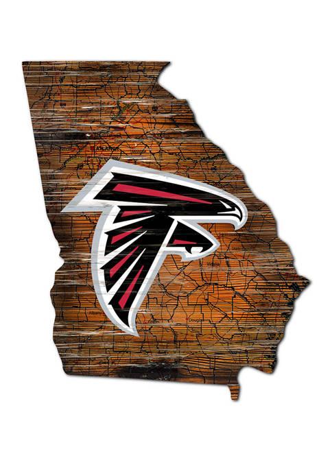 NFL Atlanta Falcons Distressed State Cutout Wall Art