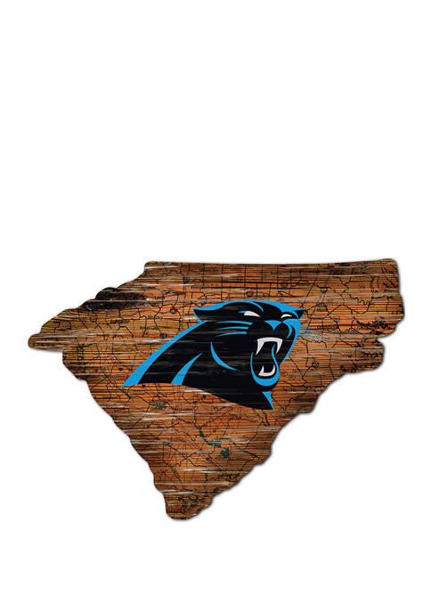 NFL Carolina Panthers Distressed State Cutout Wall Art
