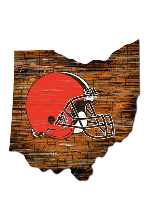 NFL Cleveland Browns 24 in x 24 in Distressed State Sign with Logo