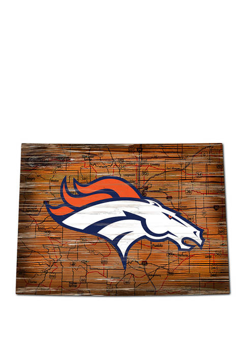 NFL Denver Broncos 24 in x 24 in Distressed State Sign with Logo