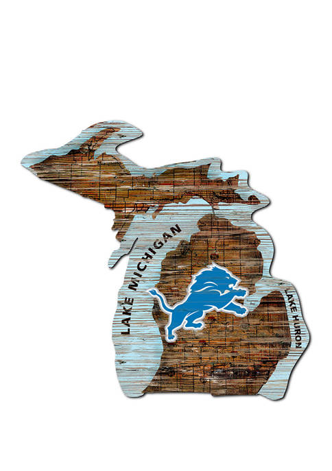 Fan Creations NFL Detroit Lions Distressed State Cutout