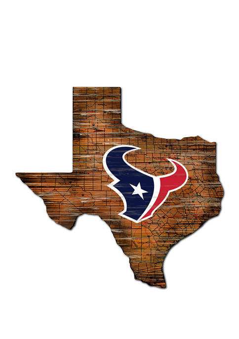 NFL Houston Texans Distressed State Cutout Wall Art