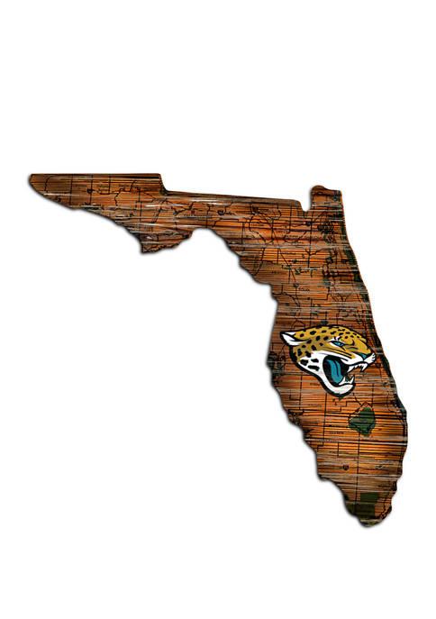 NFL Jacksonville Jaguars Distressed State Cutout Wall Art