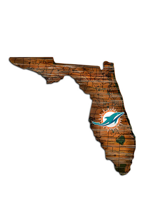 NFL Miami Dolphins Distressed State Cutout Wall Art