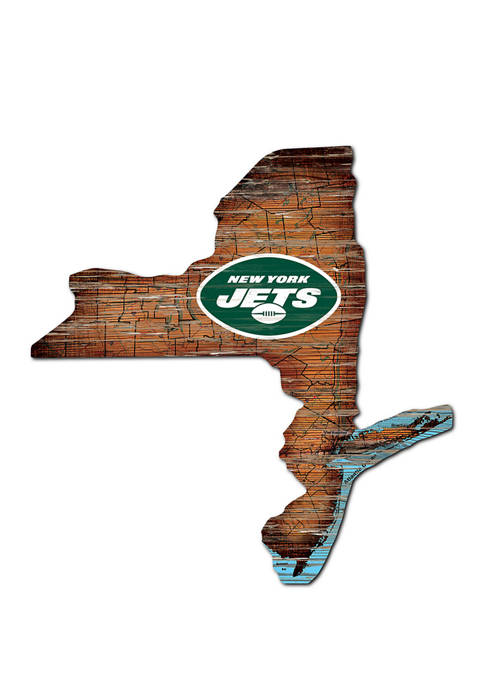 NFL New York Jets Distressed State Cutout Wall Art