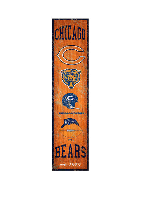 NFL Chicago Bears Heritage Banner Vertical 24 in x 6 in Sign