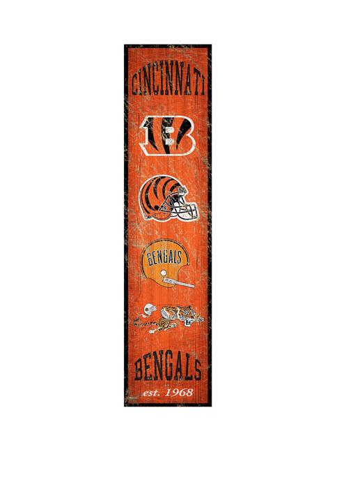 NFL Cincinnati Bengals Heritage Banner Vertical 24 in x 6 in Sign