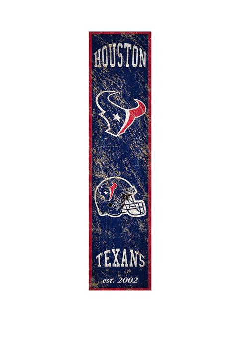 NFL Houston Texans  24 in x 6 in Vertical Heritage Banner