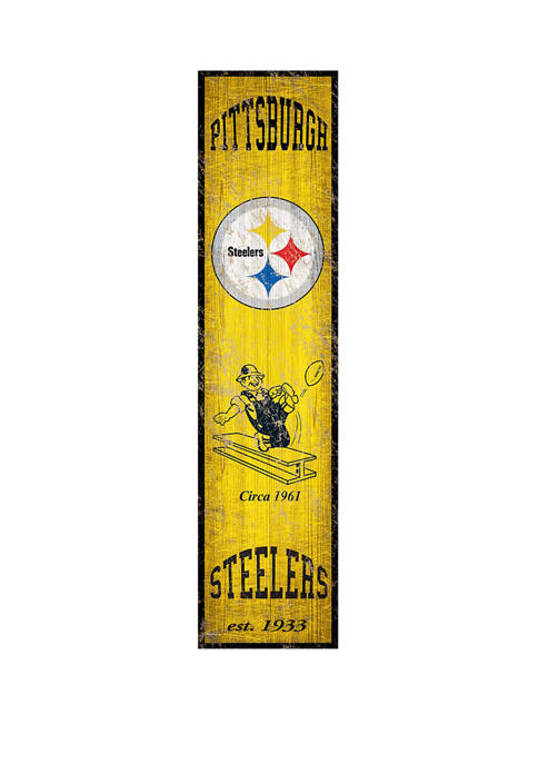 NFL Pittsburgh Steelers 6 in x 24 in Heritage Banner Vertical Sign
