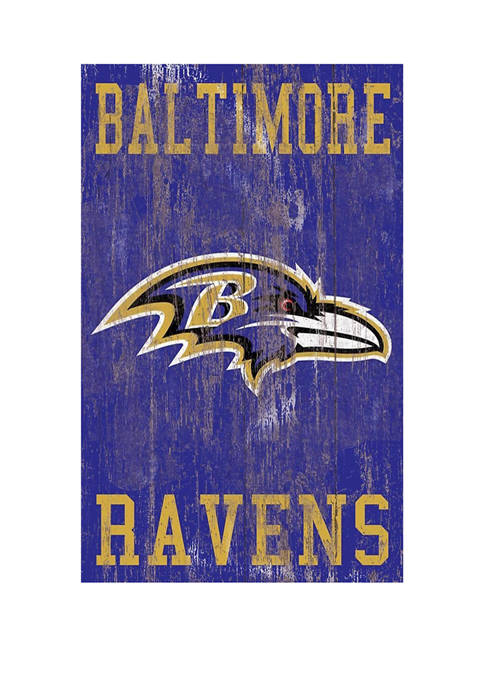 NFL Baltimore Ravens 11 in x 19 in Heritage Distressed Logo Sign