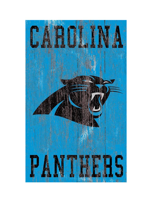 NFL Carolina Panthers 11 in x 19 in Heritage Distressed Logo Sign