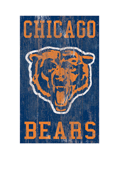NFL Chicago Bears 11 in x 19 in Heritage Distressed Logo Sign